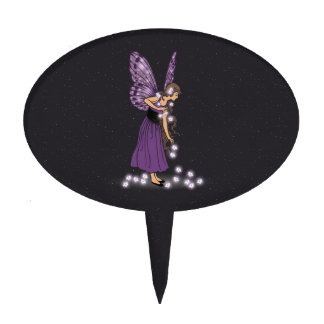 Glowing Star Flowers Pretty Purple Fairy Girl Cake Toppers