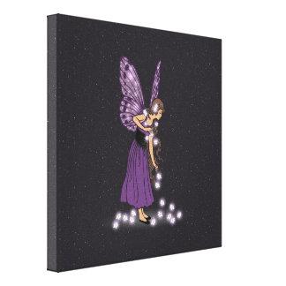 Glowing Star Flowers Pretty Purple Fairy Girl Canvas Print