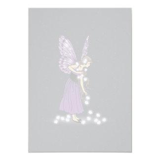 Glowing Star Flowers Pretty Purple Fairy Girl Card