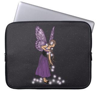 Glowing Star Flowers Pretty Purple Fairy Girl Computer Sleeve