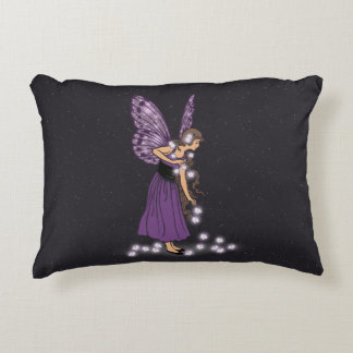Glowing Star Flowers Pretty Purple Fairy Girl Decorative Pillow