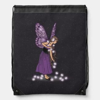 Glowing Star Flowers Pretty Purple Fairy Girl Drawstring Bag