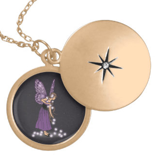 Glowing Star Flowers Pretty Purple Fairy Girl Gold Plated Necklace