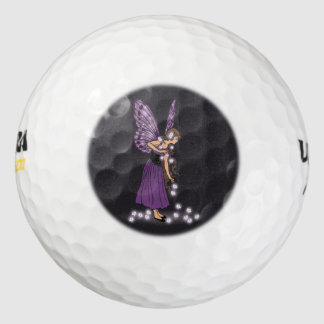 Glowing Star Flowers Pretty Purple Fairy Girl Golf Balls