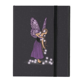 Glowing Star Flowers Pretty Purple Fairy Girl iPad Cover