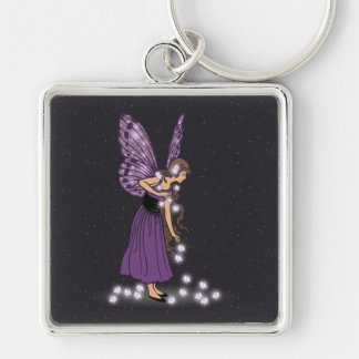 Glowing Star Flowers Pretty Purple Fairy Girl Keychain