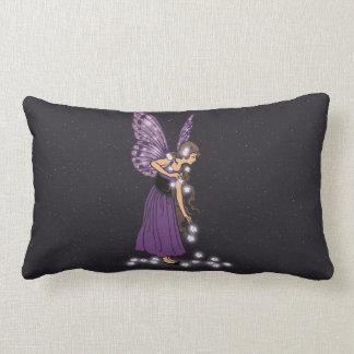 Glowing Star Flowers Pretty Purple Fairy Girl Lumbar Pillow