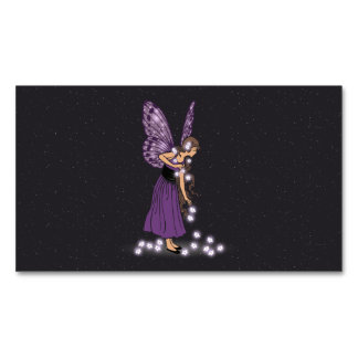 Glowing Star Flowers Pretty Purple Fairy Girl Magnetic Business Card