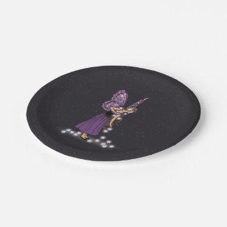 Glowing Star Flowers Pretty Purple Fairy Girl Paper Plate