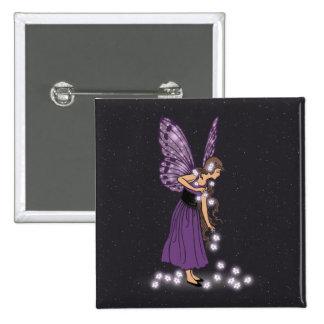 Glowing Star Flowers Pretty Purple Fairy Girl Pinback Button