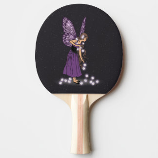 Glowing Star Flowers Pretty Purple Fairy Girl Ping-Pong Paddle