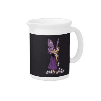 Glowing Star Flowers Pretty Purple Fairy Girl Beverage Pitcher