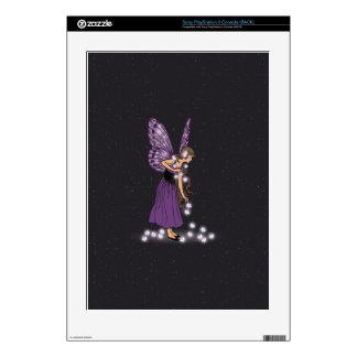 Glowing Star Flowers Pretty Purple Fairy Girl PS3 Decal
