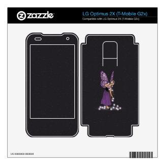 Glowing Star Flowers Pretty Purple Fairy Girl Skins For LG Optimus 2X