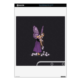 Glowing Star Flowers Pretty Purple Fairy Girl Skin For The PS3 Slim