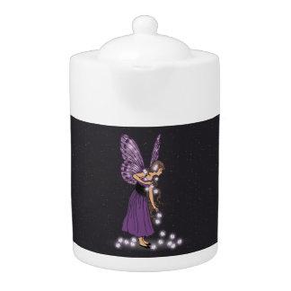Glowing Star Flowers Pretty Purple Fairy Girl Teapot