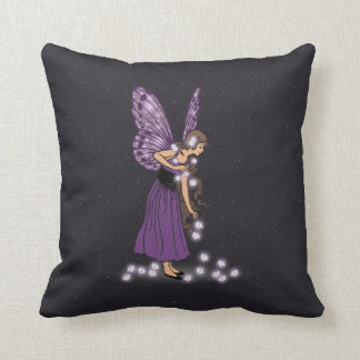 Glowing Star Flowers Pretty Purple Fairy Girl Throw Pillow