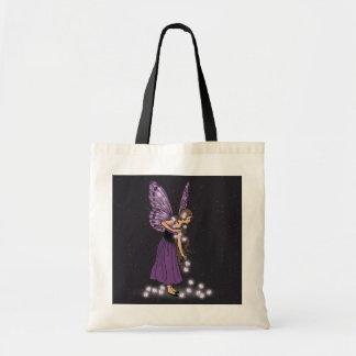 Glowing Star Flowers Pretty Purple Fairy Girl Tote Bag