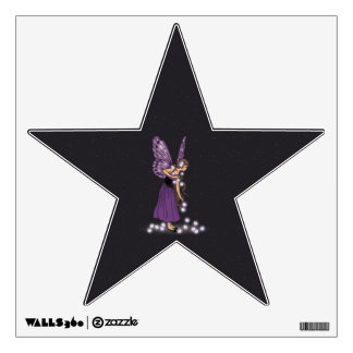 Glowing Star Flowers Pretty Purple Fairy Girl Wall Decal