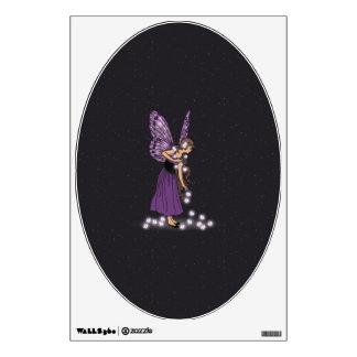 Glowing Star Flowers Pretty Purple Fairy Girl Wall Sticker