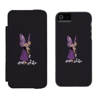 Glowing Star Flowers Pretty Purple Fairy Girl Wallet Case For iPhone SE/5/5s
