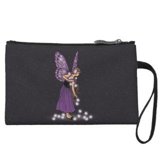 Glowing Star Flowers Pretty Purple Fairy Girl Wristlet Wallet