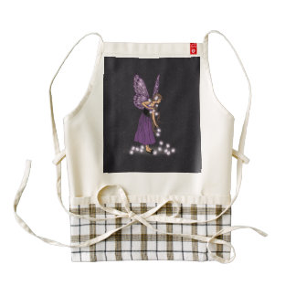 Glowing Star Flowers Pretty Purple Fairy Girl Zazzle HEART Apron