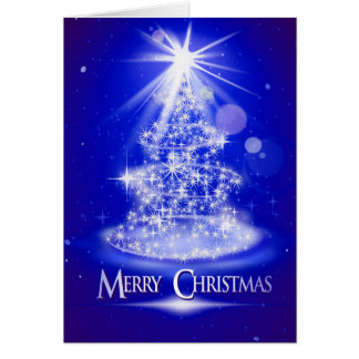 Glowing stars Christmas tree Greeting Card