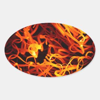 Glowing steel wool oval sticker