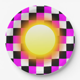 Glowing Sun on Black White Fuchsia Magenta Squares Paper Plate