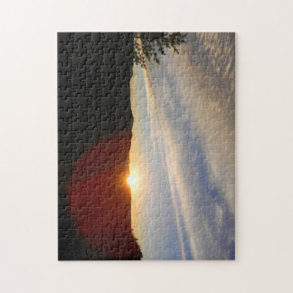 "Glowing Sunset on a Mountain Top"" Jigsaw Puzzle"