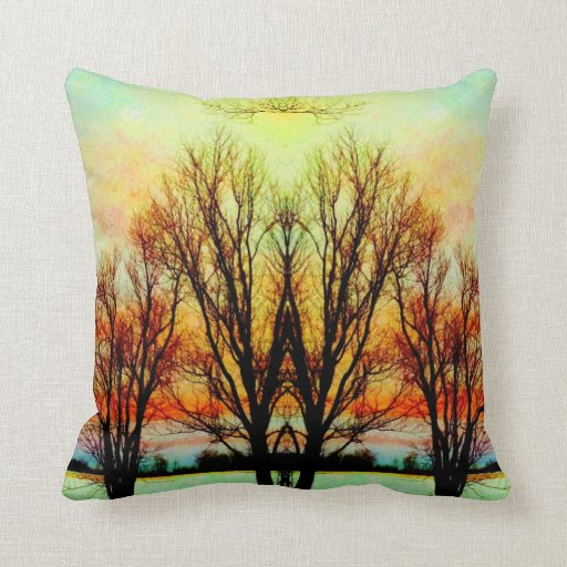 Glowing Tangled Trees Art Photograph Throw Pillows
