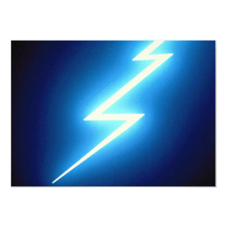 Glowing thunderbolt over black background personalized announcements