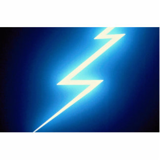 Glowing thunderbolt over black background standing photo sculpture