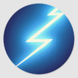 Glowing thunderbolt over black background classic round sticker