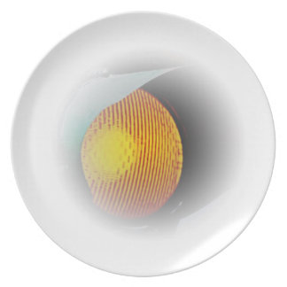 Glowing Traffic Light at Dusk Plate