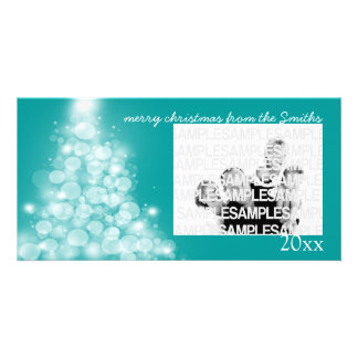 """Glowing Tree"" Annual Family Christmas Card Photo Card Template"