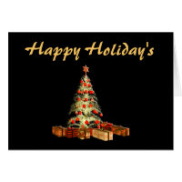 Glowing Tree Happy Holidays Card