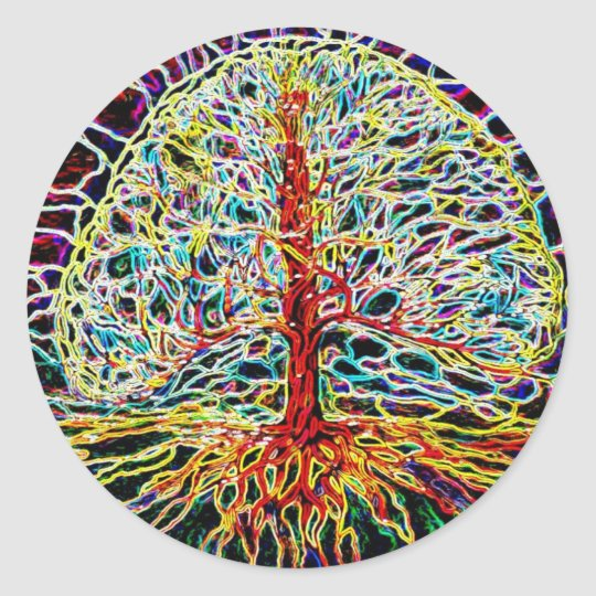 Glowing Tree o Life Classic Round Sticker