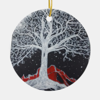 Glowing tree of life on a black background ceramic ornament