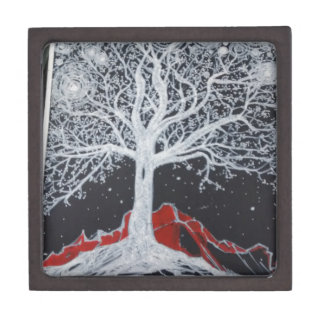 Glowing tree of life on a black background jewelry box