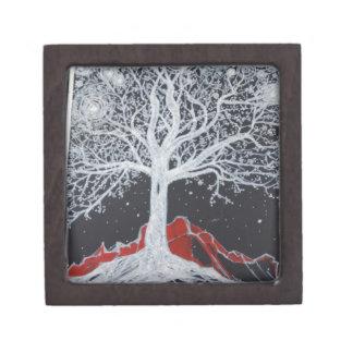 Glowing tree of life on a black background keepsake box