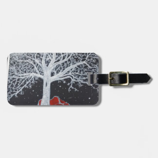 Glowing tree of life on a black background luggage tag