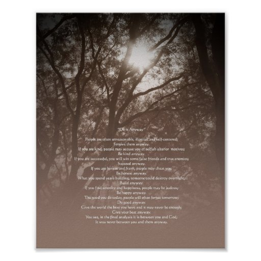 """Glowing Trees """"Do It Anyway"""" Lower Text Poster"""