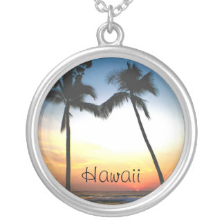 Glowing Tropical Sunset Hawaii Silver Plated Necklace
