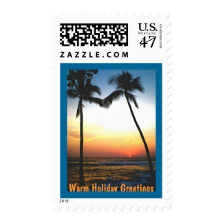 Glowing Tropical Sunset Holiday Postage
