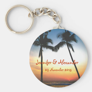 Glowing Tropical Sunset special  event Basic Round Button Keychain