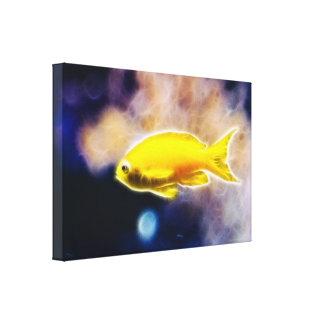 Glowing Tropical Yellow Fish Canvas Print