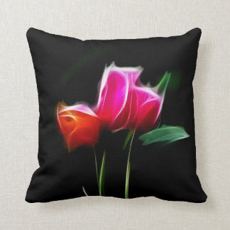Glowing tulips throw pillow