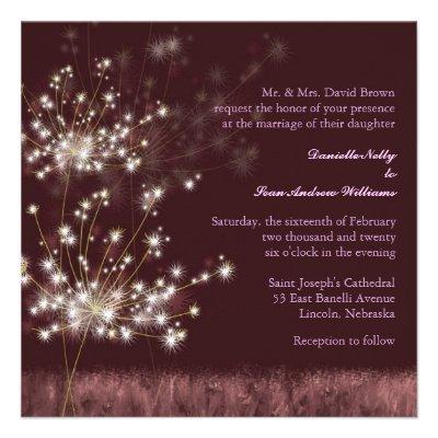 Glowing Twilight Dandelion Fall Wedding Invites